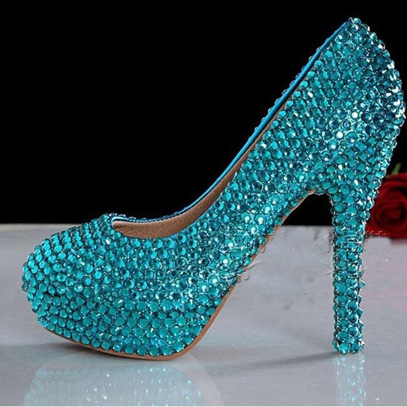 Fashion Blue High Heels Luxury Pearls Rhinestone Shoes