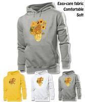 Pinturas de arte de girasoles de Van Gogh gráficos hombres sudadera con capucha del muchacho de la mujer niña señora de Tops de la camiseta gris blanco amarillo
