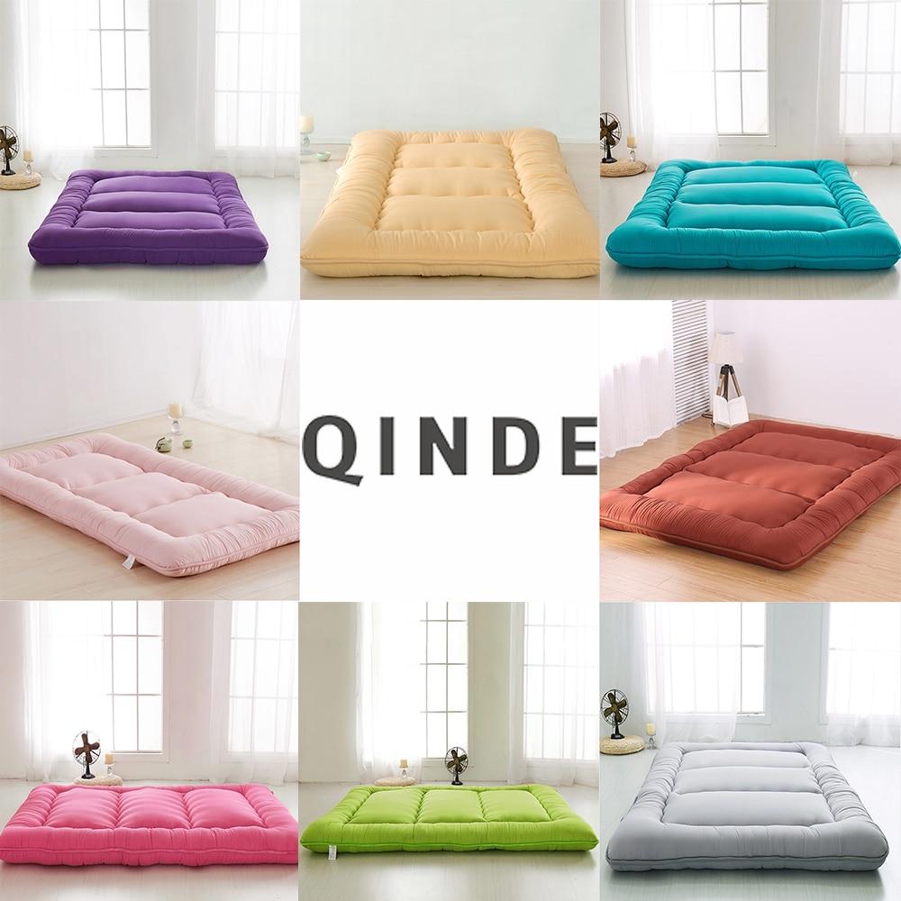 QINDE Hot Brushed Padded Mattress 10 cm Tatami Mat Custom Solid Color Warm Soft Mattress  90 * 200,120 * 200,150 * 200,180 * 200 connex asd 120 brushed
