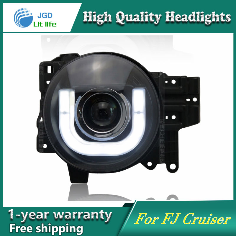 high quality Car styling case for Toyota Fj CRUISER 2007-2014 Headlights LED Headlight DRL Lens Double Beam HID Xenon hireno headlamp for 2003 2009 toyota land cruiser prado headlight assembly led drl angel lens double beam hid xenon 2pcs