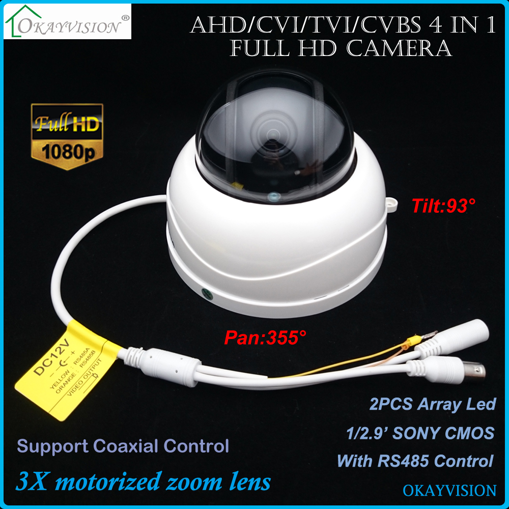 3X Motorized Zoom Lens Full HD 1080P 2.0MP Color IR PTZ DOME Camera 3X PTZ DOME Camera,200W AHD TVI CVI coaxial HD Camera dahua full hd 30x ptz dome camera 1080p