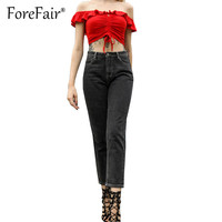 Forefair BF Style Black Straight Jeants For Women Trousers High Waist Casual Denim Pants Plus Size Women Jeans