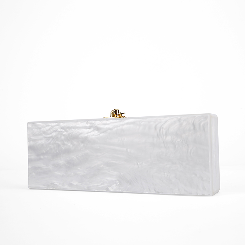 2017 White Pearl Long Size Acrylic Box Clutch Bag With Mirror Inside Gold Hardware Handmade Pearl White Evening Acrylic Bags