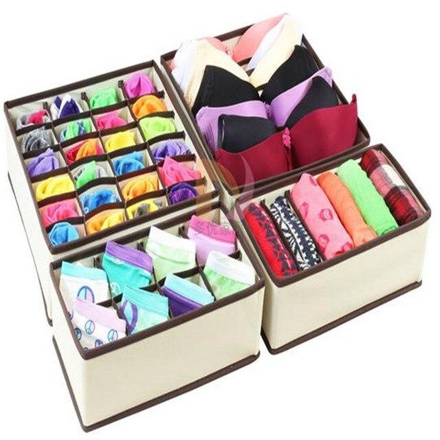 24 Beige Non Woven Storage Box For Bra Underwear Socks Folding Closet Holder  Organizer Drawer