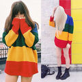 Women Casual Long Sleeve Knitted Pullover Loose Rainbow Sweater Jumper Tops Knitwear