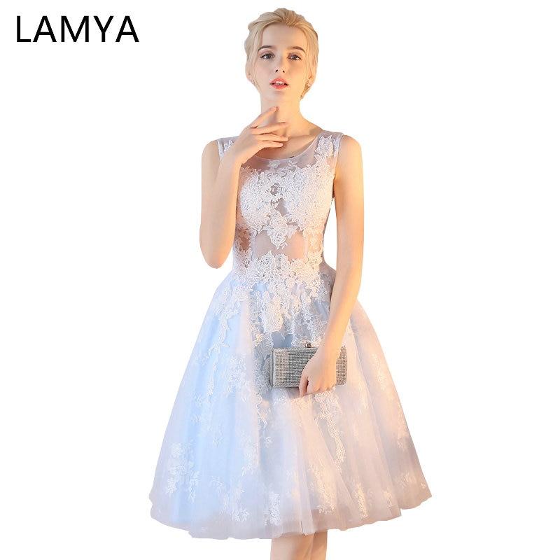 LAMYA Women's A Line Short Lace Prom Dresses Elegant Evening Party Homecoming Dress 2019 Sexy vestidos de fiesta Formal Gown