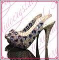 Aidocrystal высокое качество белый цвет ab кристаллы peep toe босоножки ручной работы свадебные свадебные туфли с голубыми стразами
