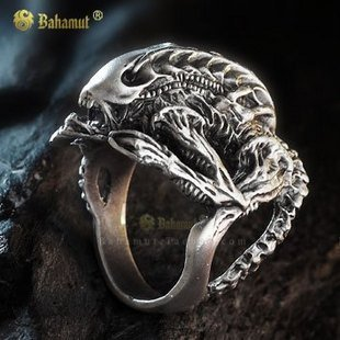 Alien Predator Ring AVP Hibernation Alien rings Plated Silver Rings For Men