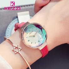KEZZI Fine Belt Crystal Glass Relojes de pulsera de cuarzo del reloj de cuero a prueba de agua para mujeres