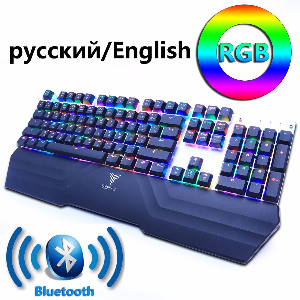 Bluetooth Wireless Gaming Mechanical Keyboard LED RGB Backlit Teclado Anti-ghosting for Gamer phone ipad PC Russian English gamer gaming mechanical rgb led backlit gaming mechanical keyboard black switch backlight game keyboard for pc laptop