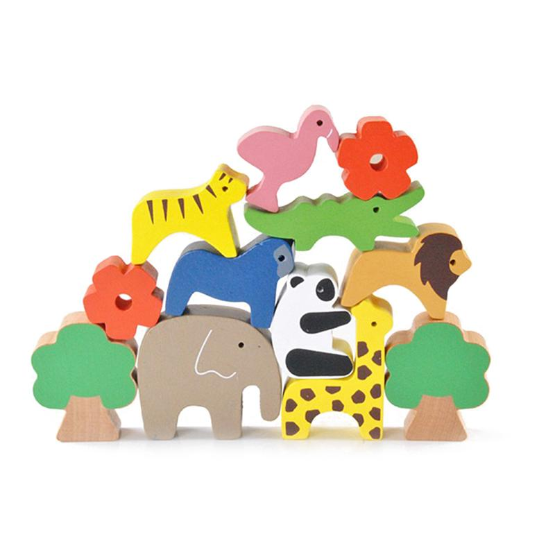 Kids Wooden Balance Game Blocks Cartoon Animal Balancing Toy Set Baby Educational Math Toys Children Birthday Gift cute falling tumbling monkeys blocks toy board game kids balancing training toys parenting family game blocks toy