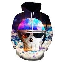 Hot Sale Autumn Winter Hooded Fashion Men/Women Casual thin Hoodies Skull 3d Starry Sky Print Hoody Sweatshirts Pullovers Jacket