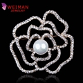 Tiny Crystal Pave Rose Brooches with Simulated Pearl Fashion Costume Jewelry for Women Valentine's Day