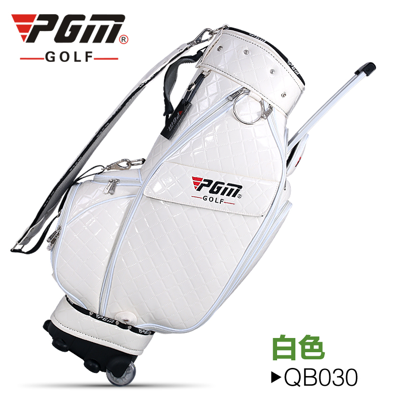 PGM New Golf Standard Club Tug Ball Bag Environmental Travel Sport Wheel Package Ultra-light Portable Anti-skid Handle Bag PU golf ball sample display case