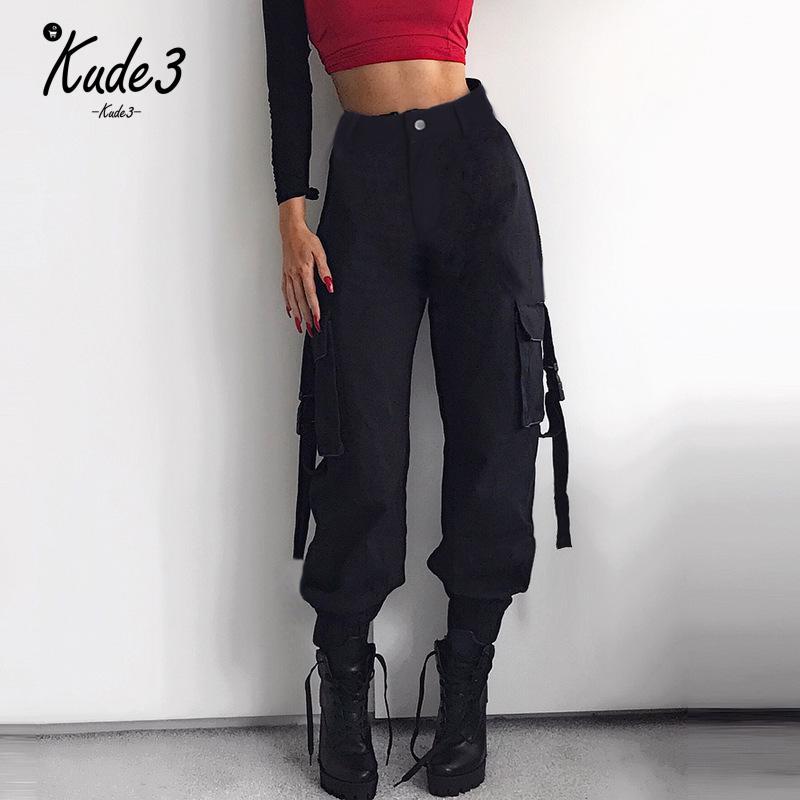 Cargo   Pants   Streetwear Women Casual Joggers Black High Waist Loose Female Trousers Korean Style Ladies ribbon   Pants     Capri   7479