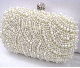 Vintage Cream Evening Bag Pearl Beaded Day Clutch Two Chains Dinner Purses Gorgeous Bridal Wedding