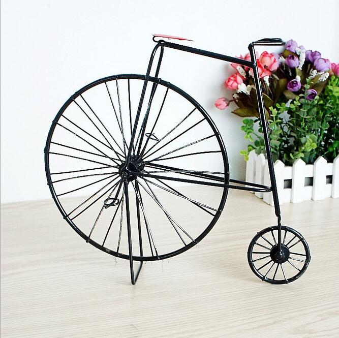 Handmade Crafts Metal Bicycle Model Decoration Ancient Iron Bike Ornaments Book Store Decor Cafe Bar Ornaments in Figurines Miniatures from Home Garden