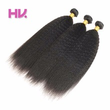 Hair Villa Brazilian Remy Human Hair Bundles Kinky Straight Hair Weft 3pc Natural Color For Salon Low Ratio Longest Hair PCT 15%