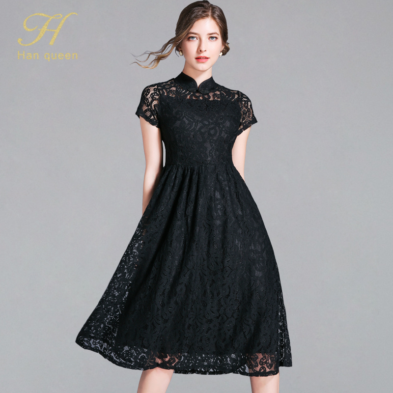 H Han Queen 2019 Summer OL Office Dress Women Short Sleeve A line Work Casual Slim Sexy Lace Dresses Hollow Out Vintage Vestidos-in Dresses from Women's Clothing on AliExpress - 11.11_Double 11_Singles' Day 1
