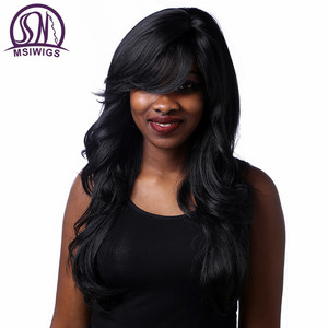 Image 2 - MSIWIGS สังเคราะห์ Wavy Wigs กับ Bangs เส้นใยอุณหภูมิสูงผมยาวสีดำวิกผมผู้หญิง