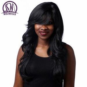 Image 2 - Msiwigs perucas onduladas sintéticas com franja lateral de alta temperatura fibra cabelo preto peruca longa para preto