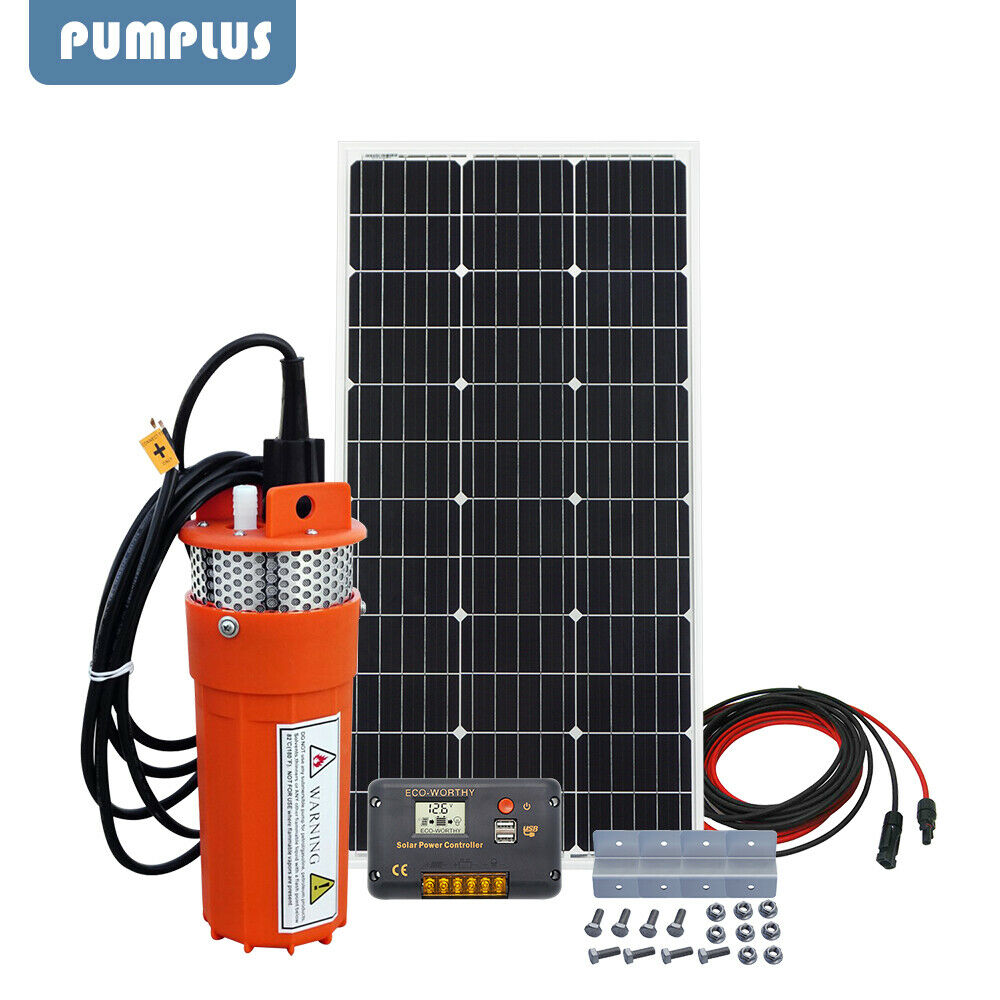 100W Solar Panel 12V Submersible Solar Water Pump System & 10m Extention Cables
