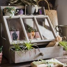 Наклонный дизайн ручной работы под старину твердой древесины маленький шкафчик для хранения на столешнице