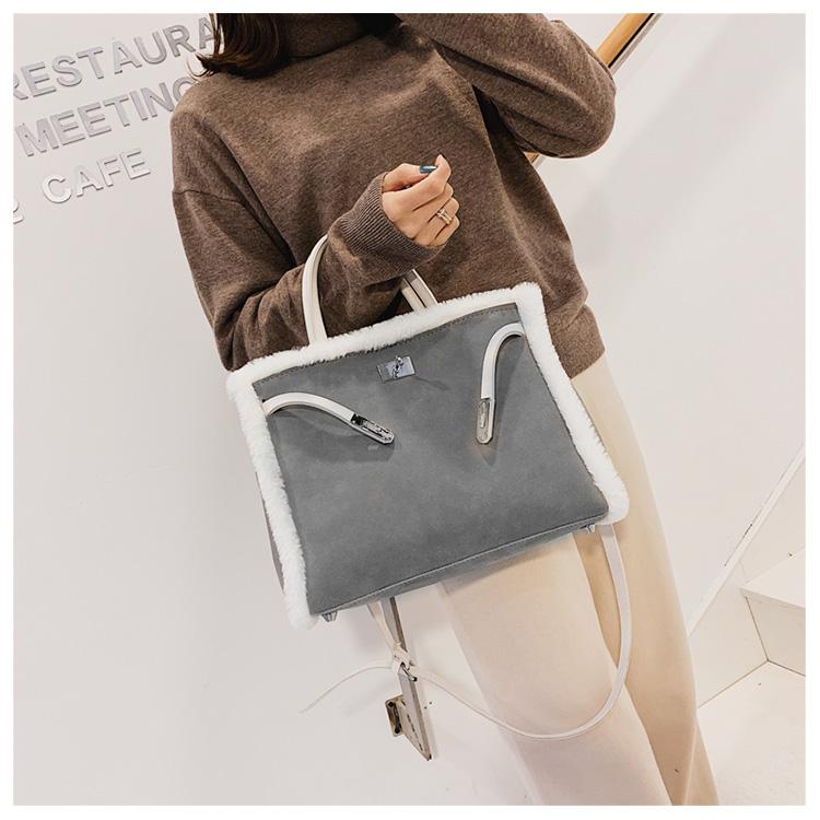 Korean handbag large capacity bucket hand bag designer big tote designer Fur women messengerc winter shopping wool no lock 90