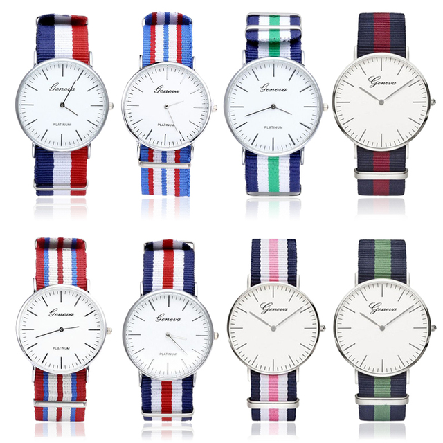 Casual Sport Watches Men Women Luxury Brand Stripe Nylon Watchband Strap Men Wat
