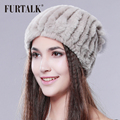 FURTALK real rex rabbit fur hat women winter fur pom pom hat fur fashion winter fur hat