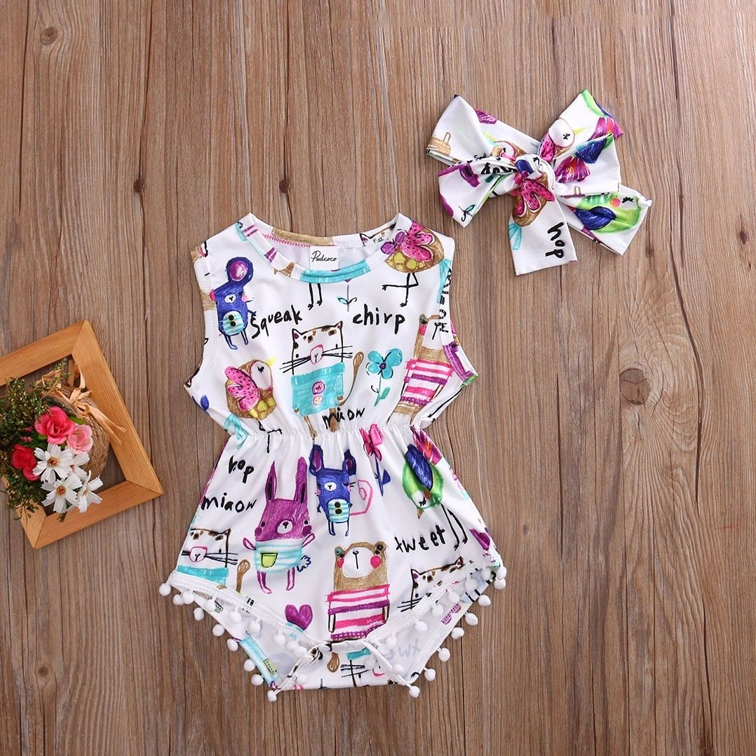 Newborn Toddler Girls Sunsuits Bodysuits Cute Lovely Infant Baby Toddler Girl Painting Bodysuit Jumpsuit Outfits Headband Causal