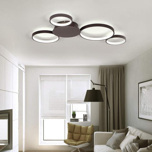 US $131.93 21% OFF|VEIHAO Modern LED chandelier Creative living room  fixtures bedroom ceiling lamp White/Matte Coffee Chandelier lighting AC85  260V-in ...