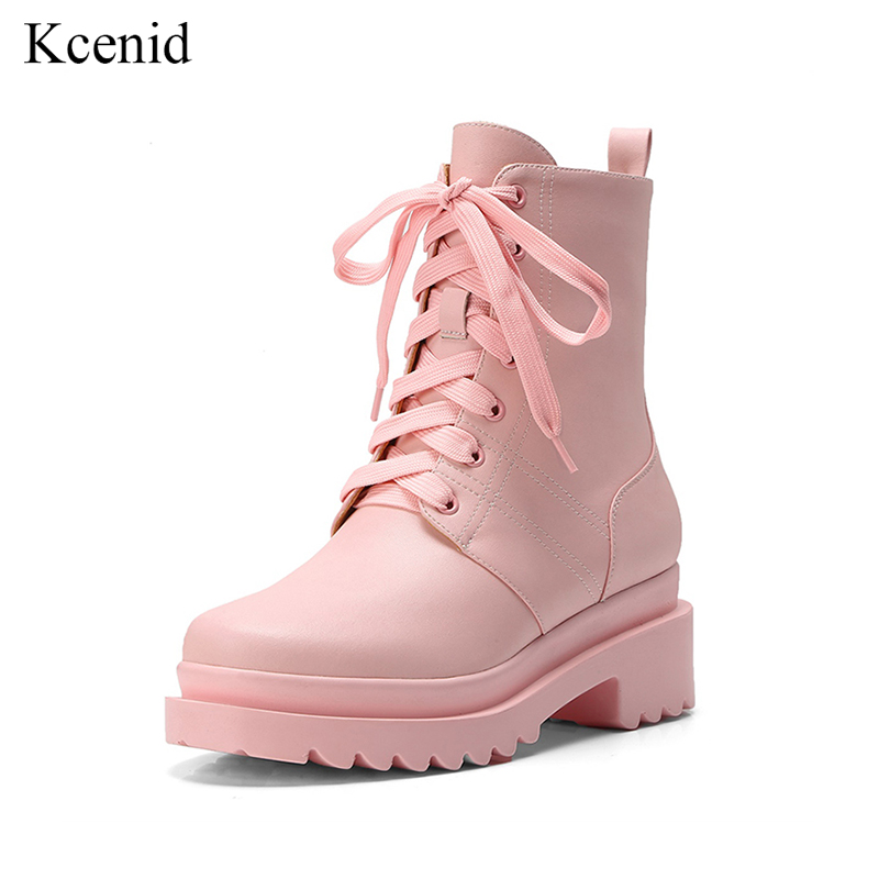 Kcenid New pink boots autumn shoes women british design genuine leather boots women lace up square