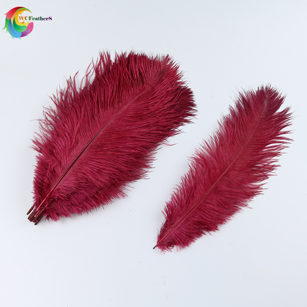 50pcs/lot New Wine red Natural Ostrich Feathers 30 35cm for Wedding Party Decoration Crafts Headdress Accessories plume-in Feather from Home & Garden    1