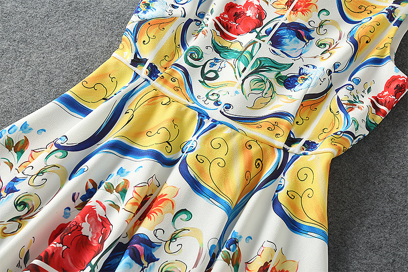 シチリアファッション女性の服高品質バックボタン女性のヨーロッパ 夏のトーテムプリント古代の方法を復元ドレス United 5