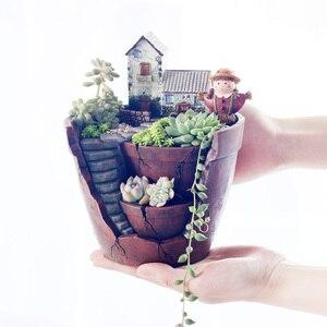 Image 2 - Roogo 植木鉢ミニ多肉植物ポットヴィンテージヨーロッパ植木鉢バイオニックガーデンポット家の装飾バルコニーの装飾プランターギフト