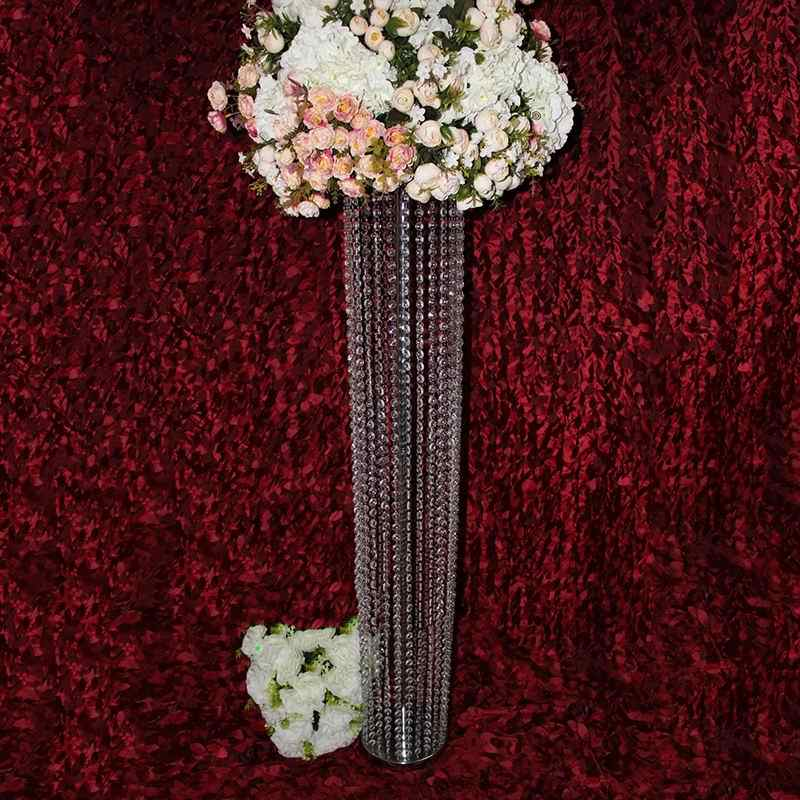 PEANDIM 10pcs 120cm Tall Acrylic Crystal Wedding Table Centerpieces Events Road Lead Flower Holder Engagement Party Decorations