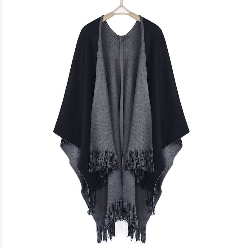 Image 5 - Women Cardigans Solid Shawls Knitted Poncho Blanket Oversized Reversible Reversed Sided Scarf Tassel Fashion Poncho And Capes-in Women's Scarves from Apparel Accessories