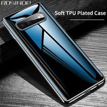 ROSINOP Mirror Transparent Plated TPU Case For samsung S10 Original Cute Clear Soft Cover Full Coverage 360 Degree Protection