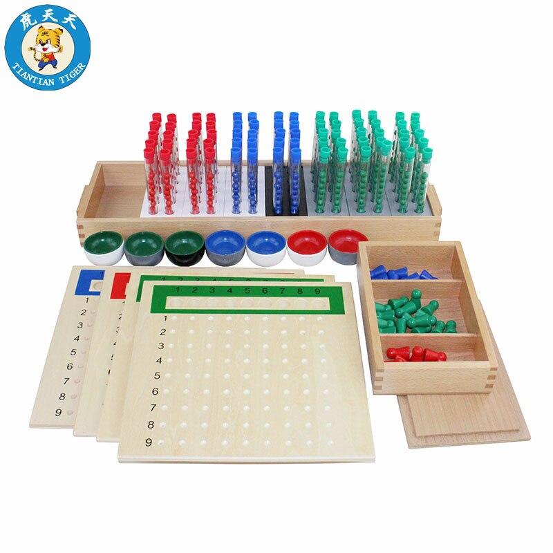 Montessori bébé jouets éducatifs en bois mathématiques apprentissage préscolaire aides pédagogiques Tube à essai longue Division conseil