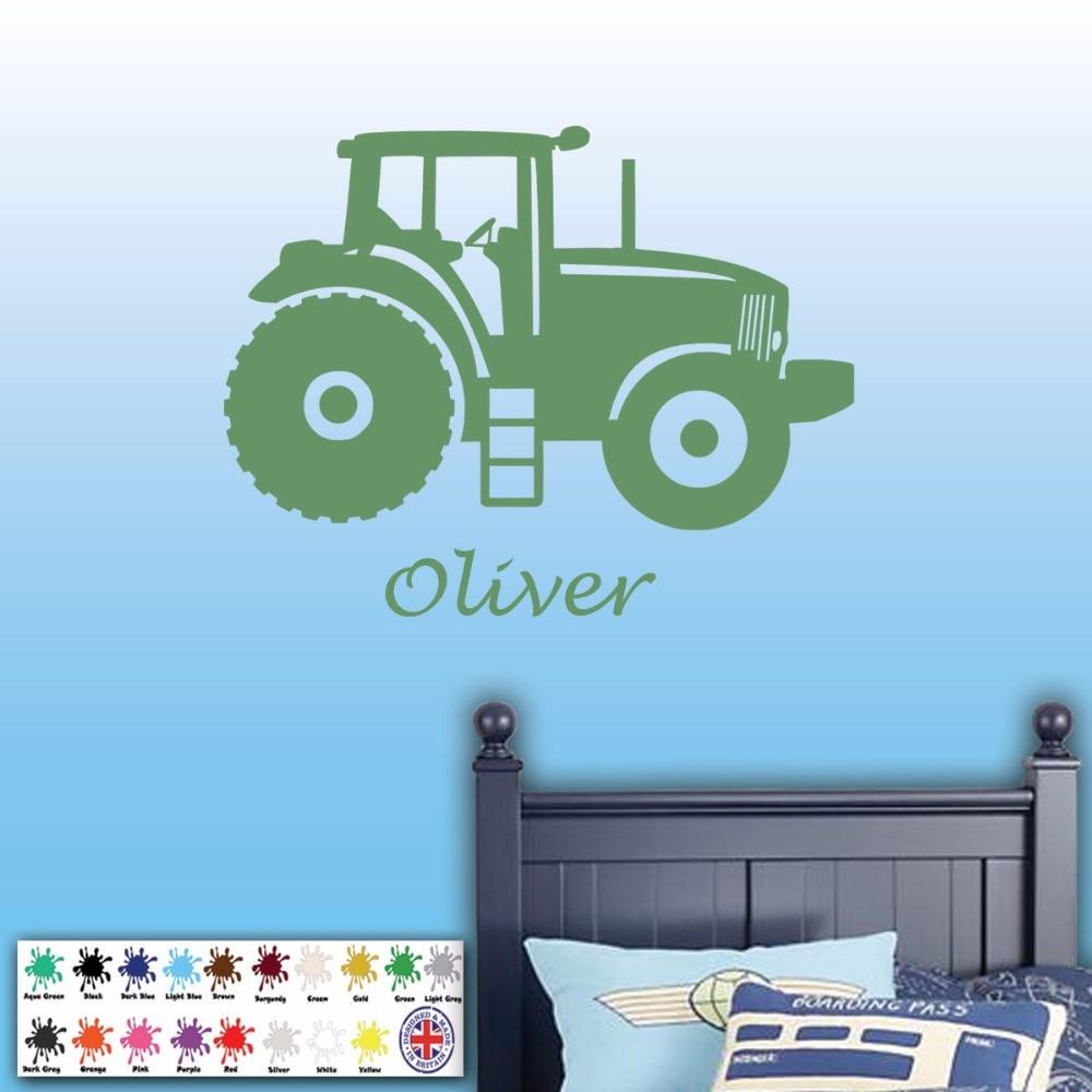 Yoyoyu 40 Colors Art Vinyl Wall Sticker Tractor Custom Name