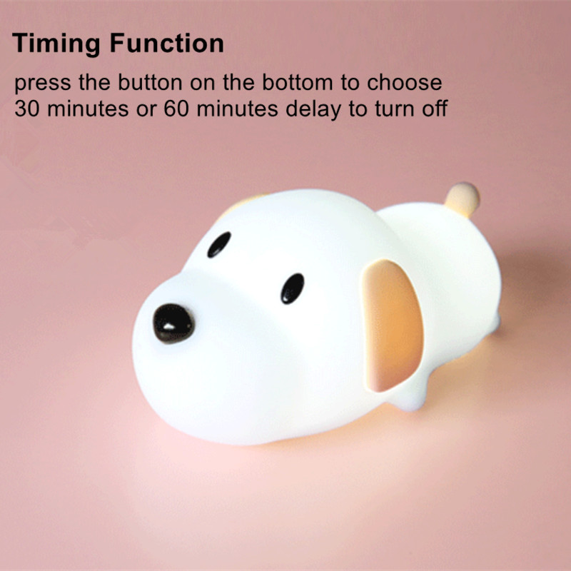 Image 2 - Dimmable Led Night Light Lamp Touch Silicone Puppy Cartoon for Baby Children Kids Gift Bedside Bedroom Living Room Decoration-in LED Night Lights from Lights & Lighting