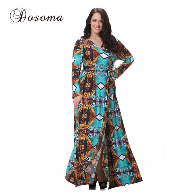 L 7XL Plus Size Elegant Silk Print Maxi Dress Casual Holiday Party ...