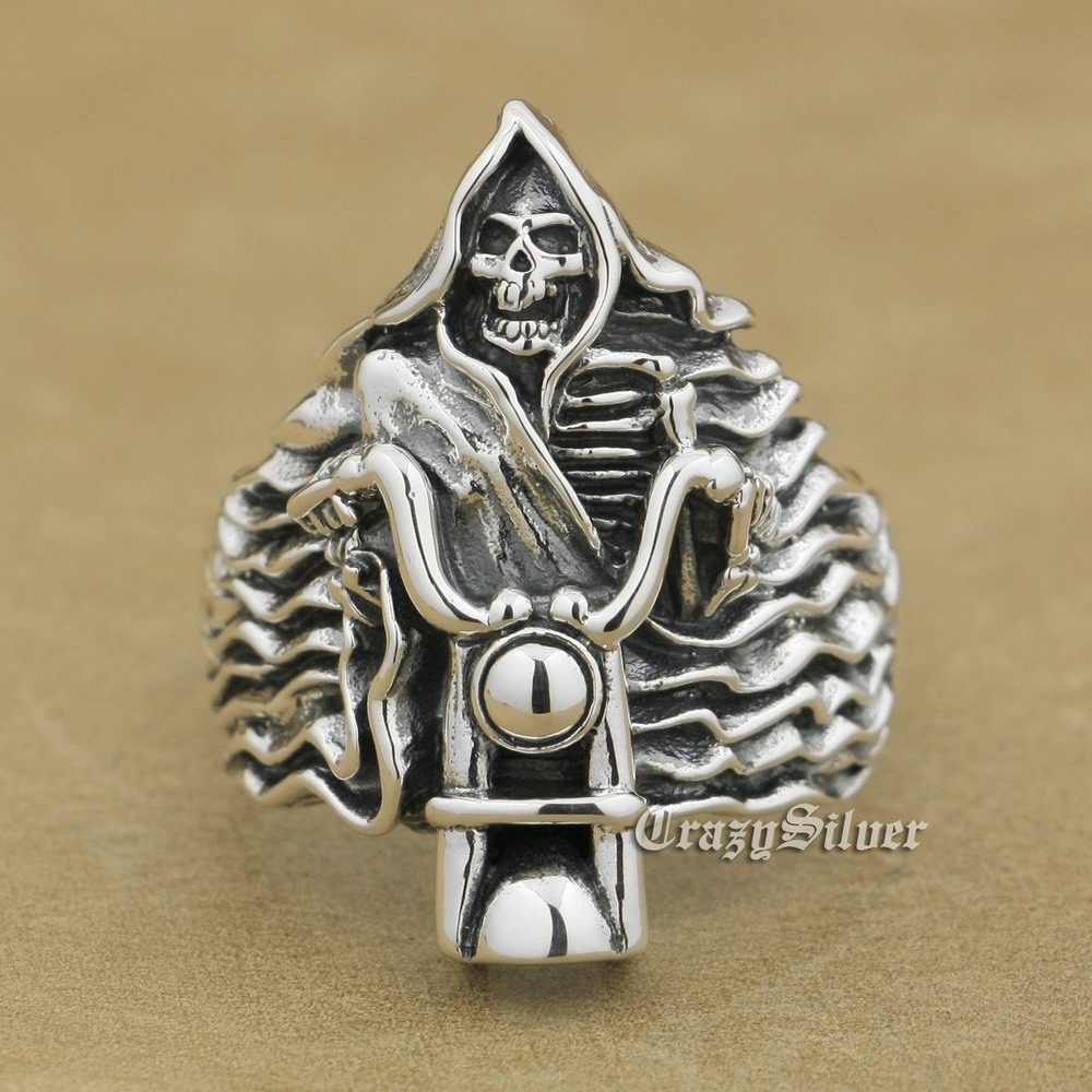 LINSION 925 Sterling Silver Fire Motorcycle Ring Mens Biker Punk Skull Ring 9W026 US Size 8 ~ 14 r003 skull shaped titanium steel ring black silver us size 8