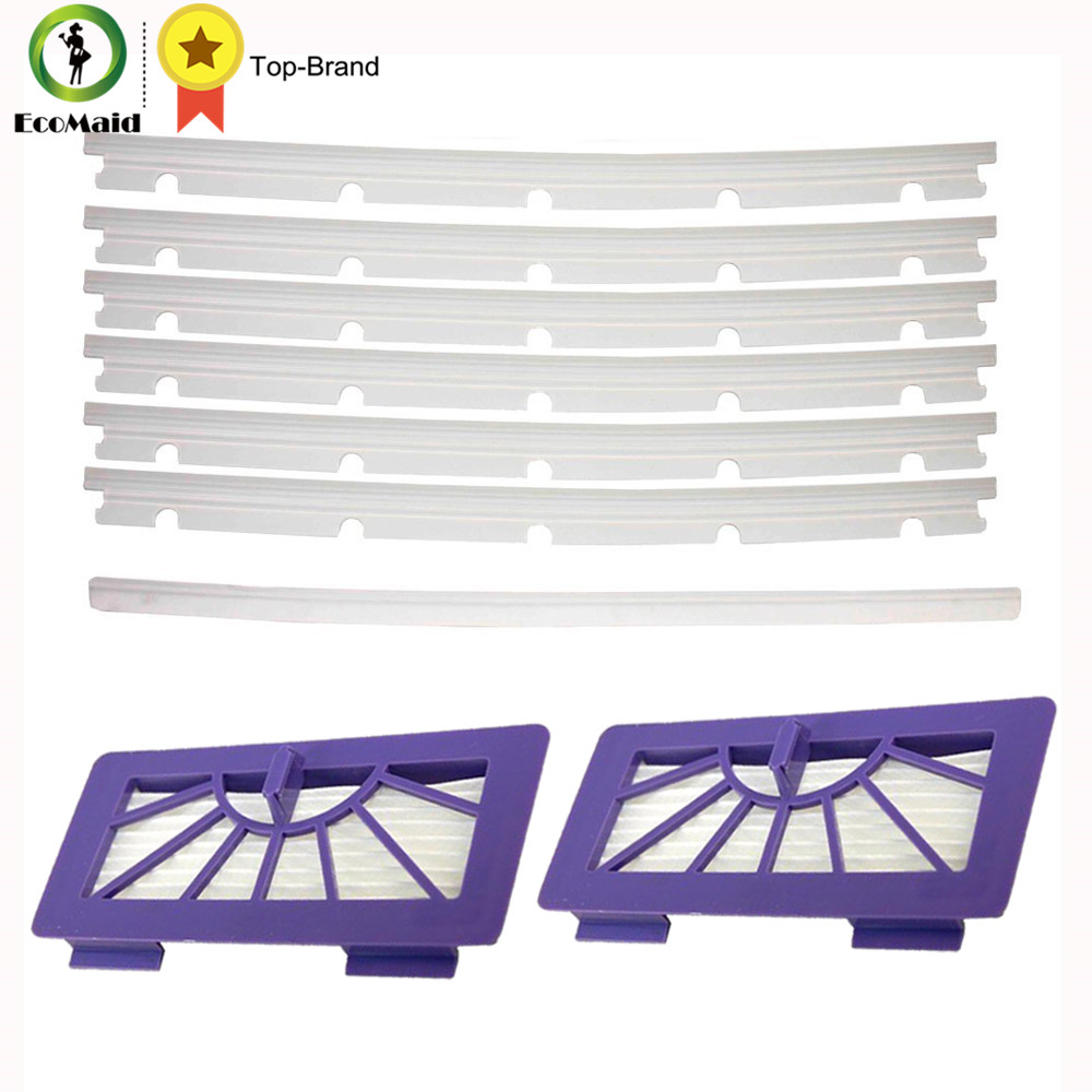 2 HEPA Filters + 6 Compatible Blades and 1 Squeegee Replacement For Neato XV-11 XV-12 XV-14 XV-15 XV-21 XV Signature Pro neato spiral blade brush 6 piece brush blade and 1piece squeegee replacement pack xv 11 xv 12 xv 14 xv 15 xv 21
