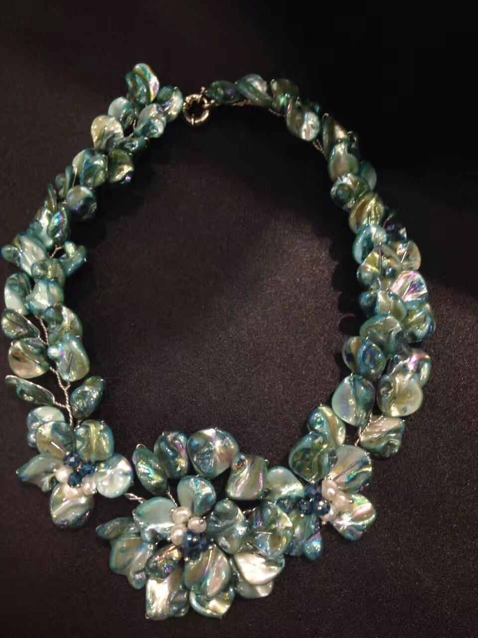 Collier de fleurs en coquillage naturel couleur bleu rouge mode femmes bijoux livraison gratuite bohême