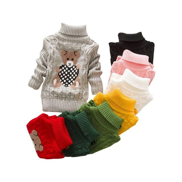 Baby Girls Boys Sweaters 2018 Autumn Winter Cartoon Sweater jumper Knitted Pullover Turtleneck Warm Outerwear Kids knit Sweater