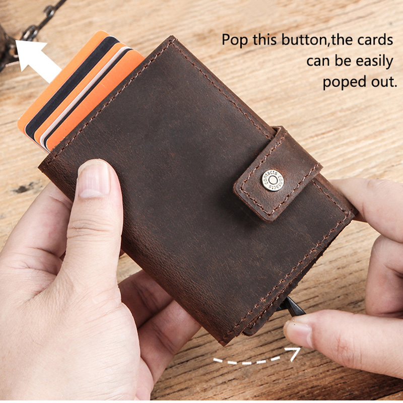 CONTACT'S Crazy Horse leather men wallet RFID Blocking credit card holder Aluminum box Automatic pop up Business Security Purse 5