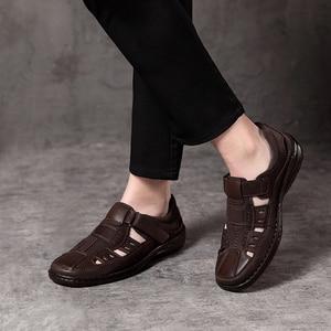 Image 5 - Jackmiller men sandals summer breathable comfortable super Light casual brown mark line sandal men shoes hook & loop slip on