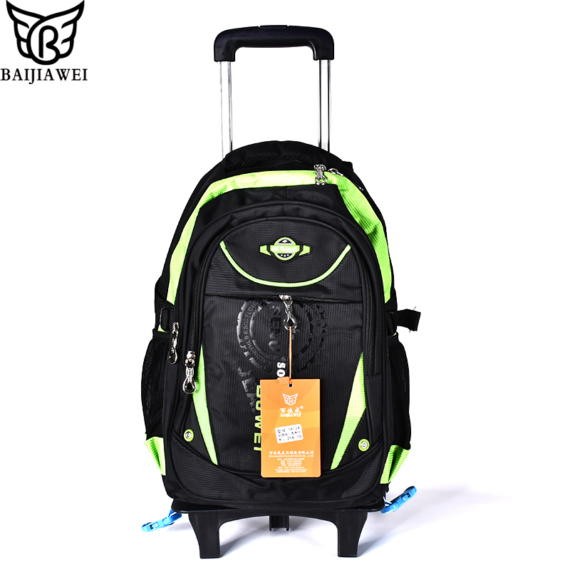 BAIJIAWEI Trolley Children School Bags Kids Backpacks With Wheel Trolley Luggage For Girls And Boys Backpack